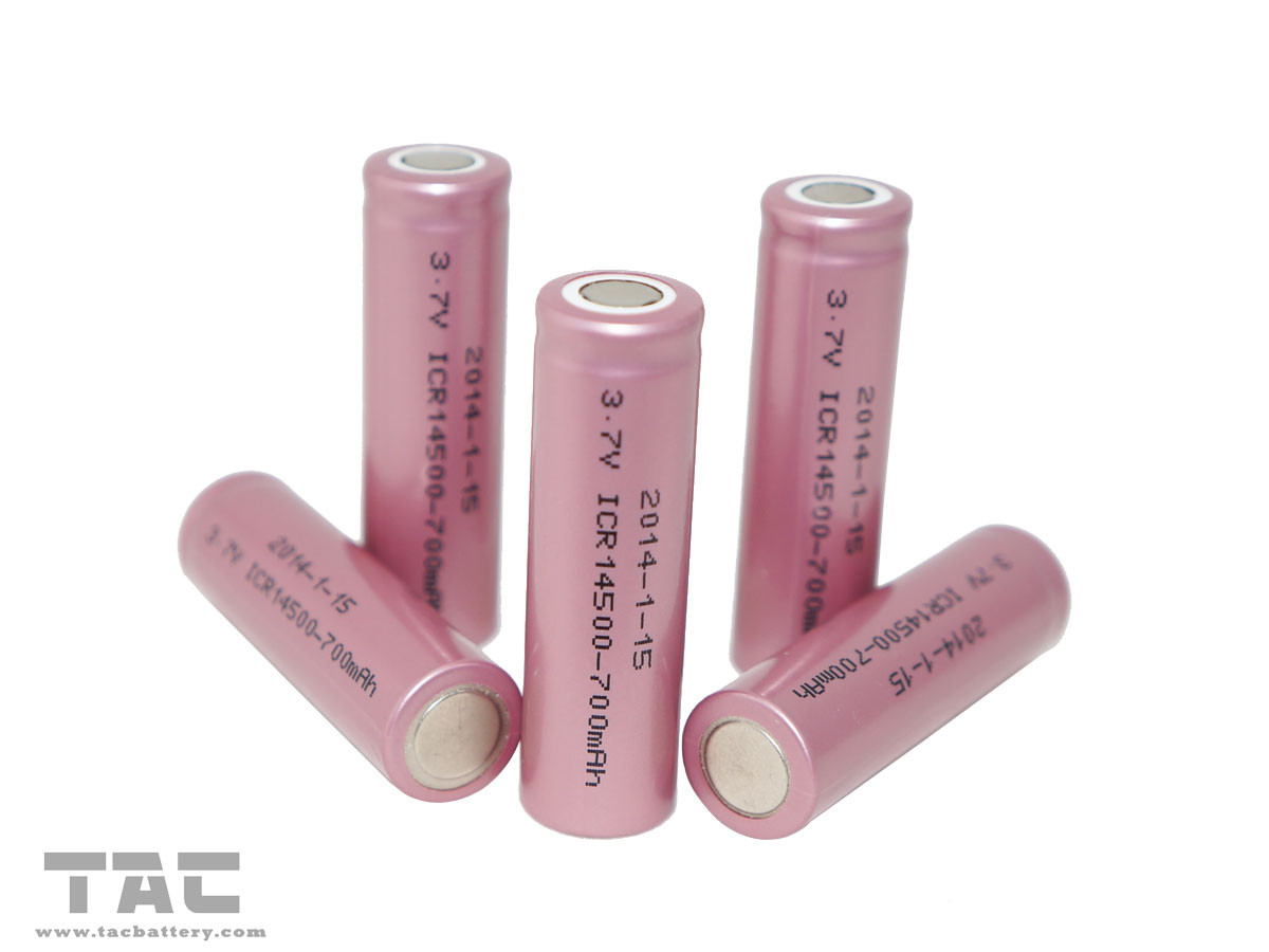 AA Rechargeable Batteries 700mAh Lithium ion Cylindrical ICR14500 Cell